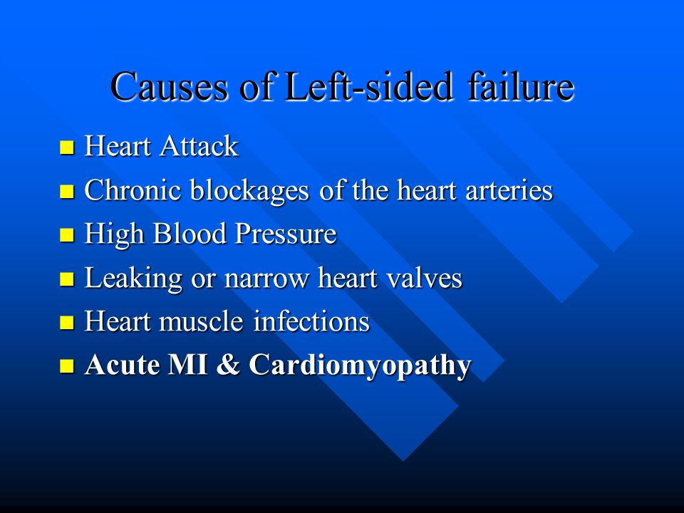 Causes of Left-sided failure Heart Attack Heart Attack Chronic blockages of the heart arteries Chronic blockages of the heart arteries High Blood Pressure High Blood Pressure Leaking or narrow heart valves Leaking or narrow heart valves Heart muscle infections Heart muscle infections Acute MI & Cardiomyopathy Acute MI & Cardiomyopathy