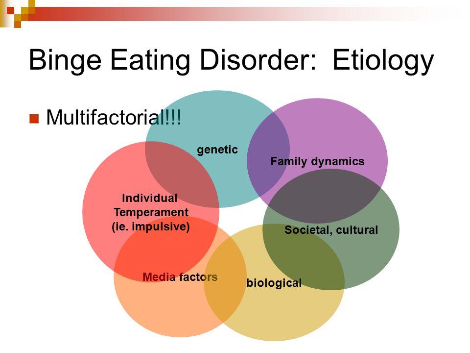 Binge Eating Disorder: Etiology Multifactorial!!! Media factors genetic Individual Temperament (ie. impulsive) biological Family dynamics Societal, cu