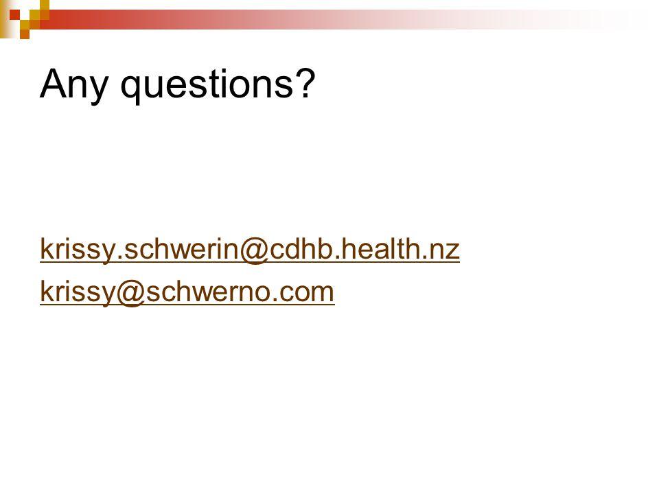 Any questions? krissy.schwerin@cdhb.health.nz krissy@schwerno.com