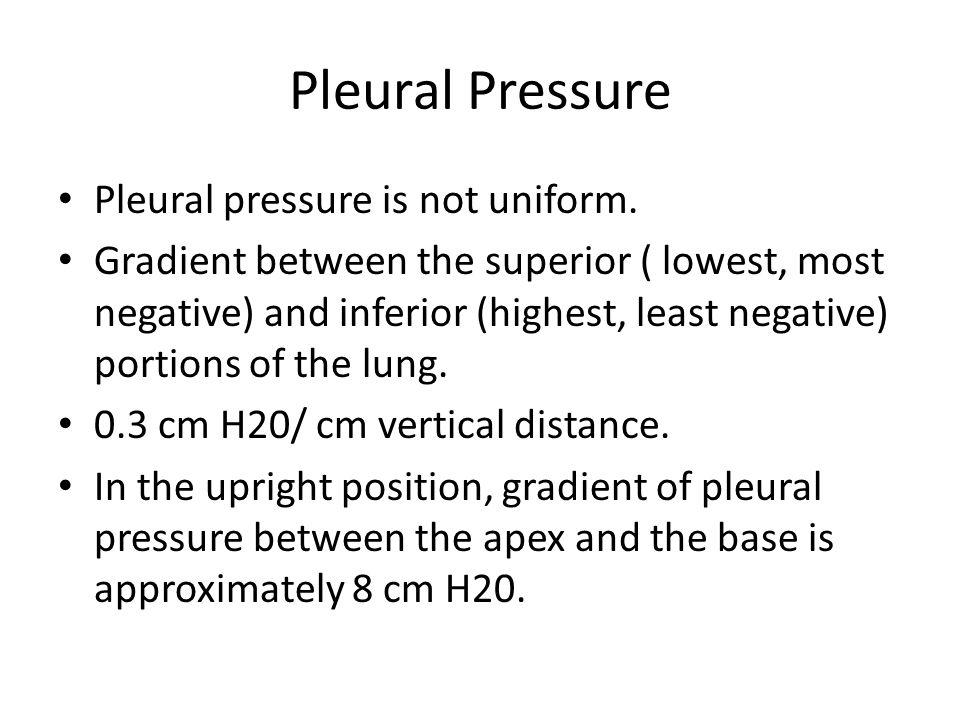 Pleural Pressure Pleural pressure is not uniform. Gradient between the superior ( lowest, most negative) and inferior (highest, least negative) portio