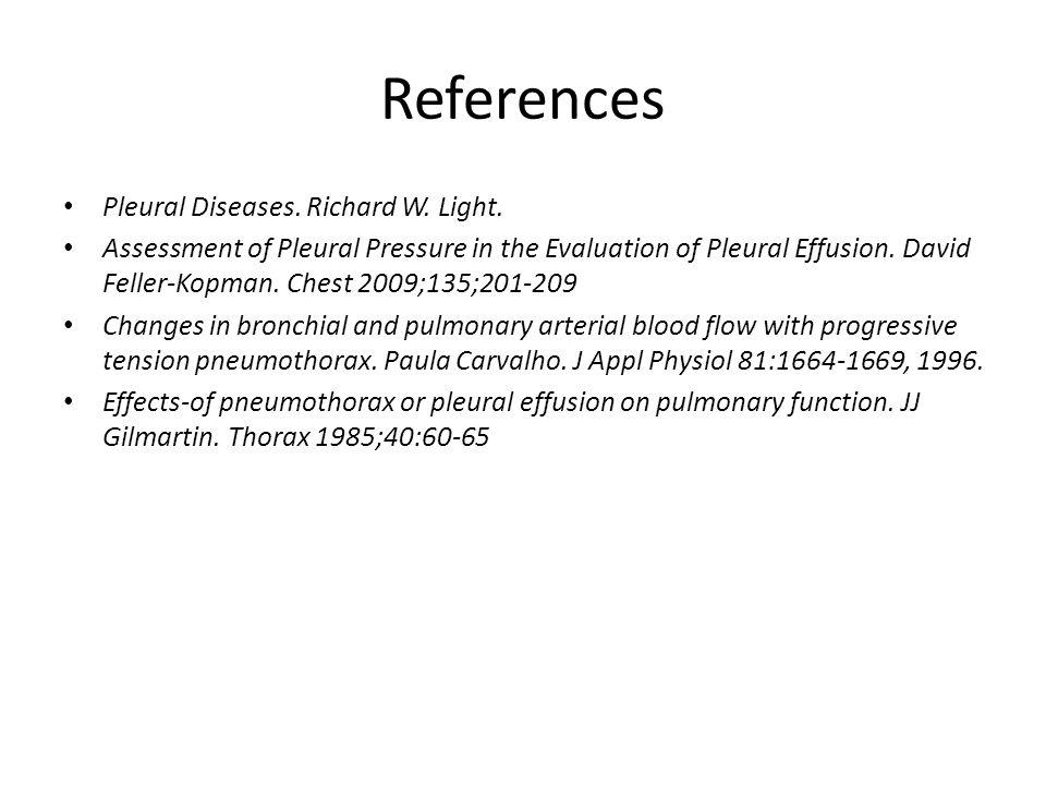 References Pleural Diseases. Richard W. Light. Assessment of Pleural Pressure in the Evaluation of Pleural Effusion. David Feller-Kopman. Chest 2009;1