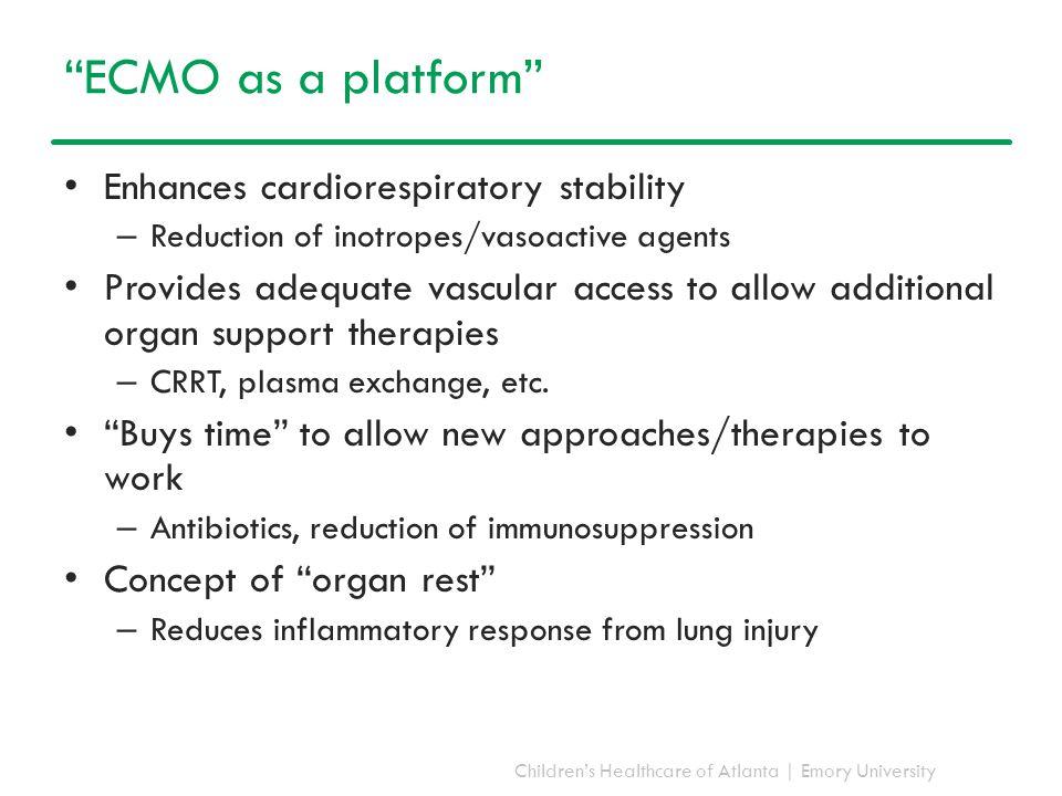 "Children's Healthcare of Atlanta | Emory University ""ECMO as a platform"" Enhances cardiorespiratory stability – Reduction of inotropes/vasoactive agen"