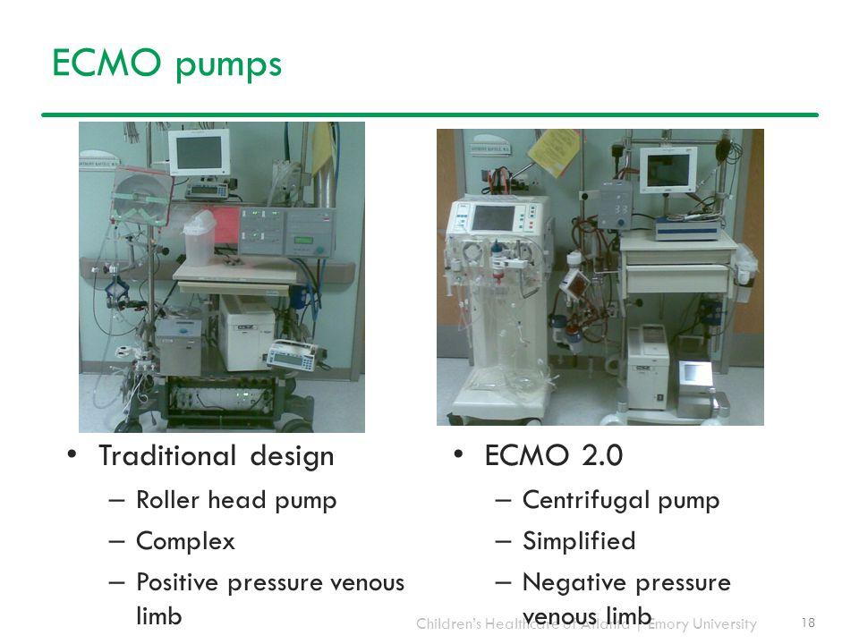 Children's Healthcare of Atlanta | Emory University ECMO pumps Traditional design – Roller head pump – Complex – Positive pressure venous limb 18 ECMO