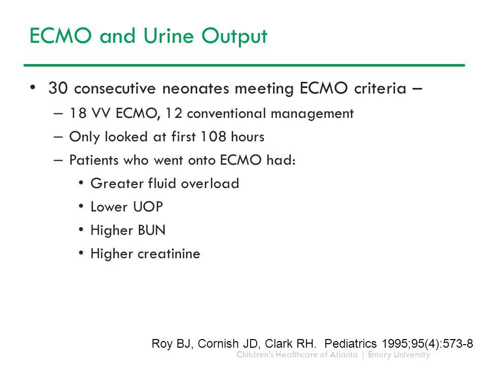 Children's Healthcare of Atlanta | Emory University ECMO and Urine Output 30 consecutive neonates meeting ECMO criteria – – 18 VV ECMO, 12 conventiona