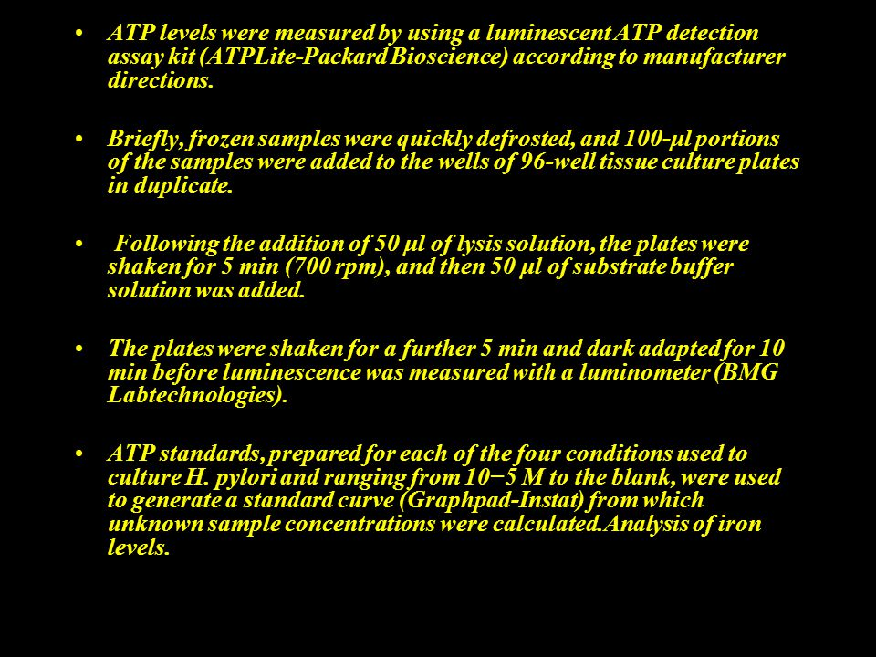 ATP levels were measured by using a luminescent ATP detection assay kit (ATPLite-Packard Bioscience) according to manufacturer directions. Briefly, fr