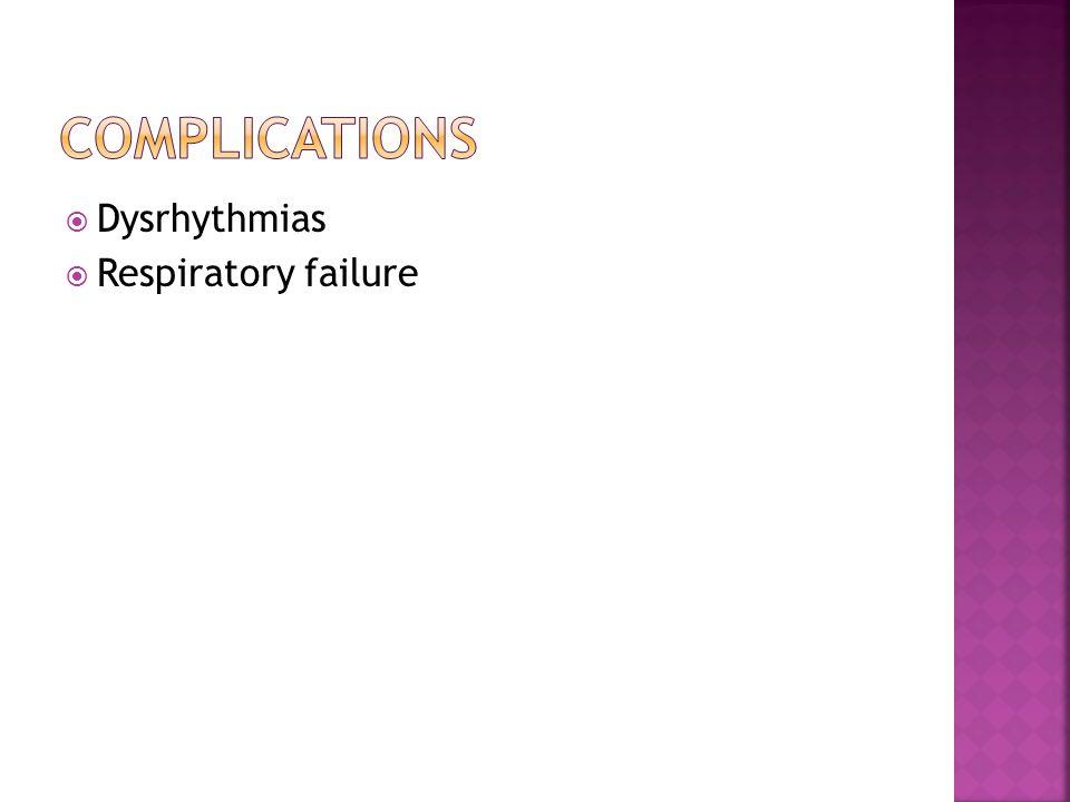  Dysrhythmias  Respiratory failure
