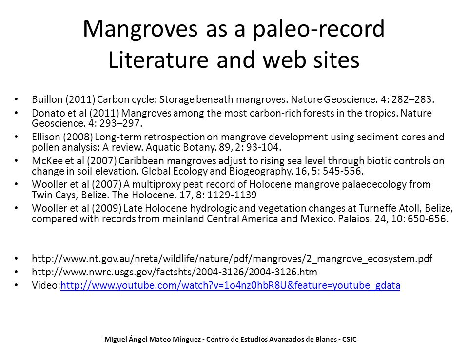 Mangroves as a paleo-record Literature and web sites Buillon (2011) Carbon cycle: Storage beneath mangroves. Nature Geoscience. 4: 282–283. Donato et