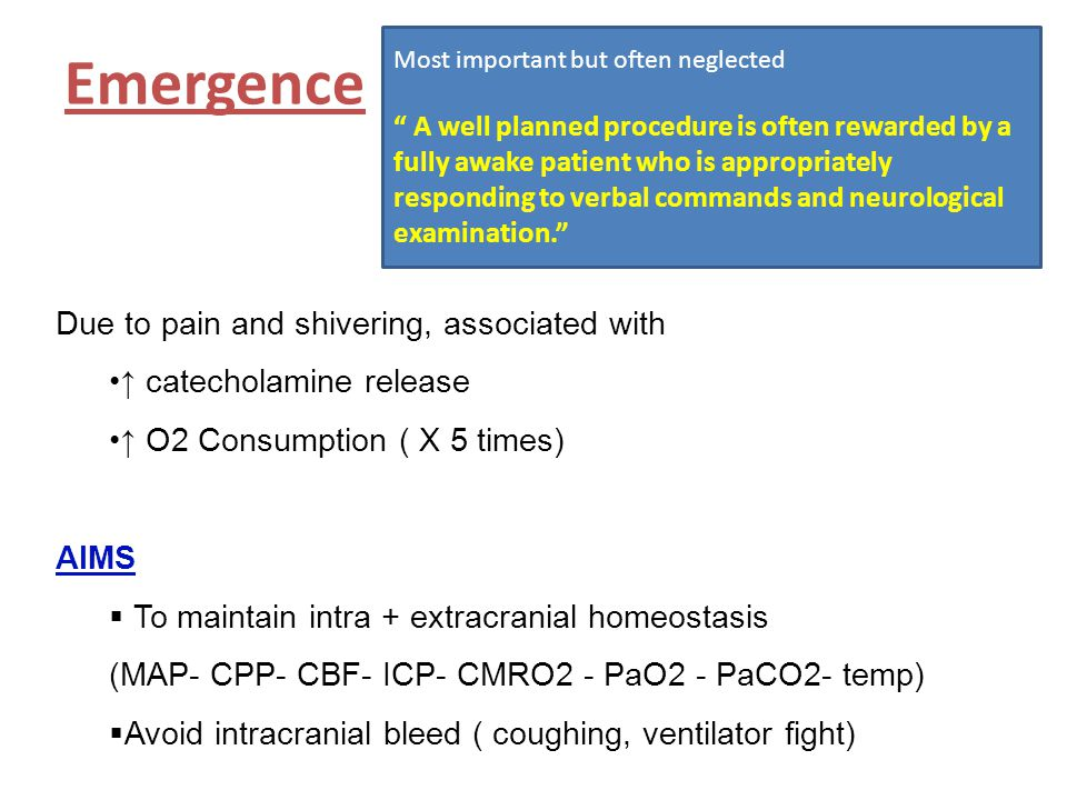 """Emergence Most important but often neglected """" A well planned procedure is often rewarded by a fully awake patient who is appropriately responding to"""