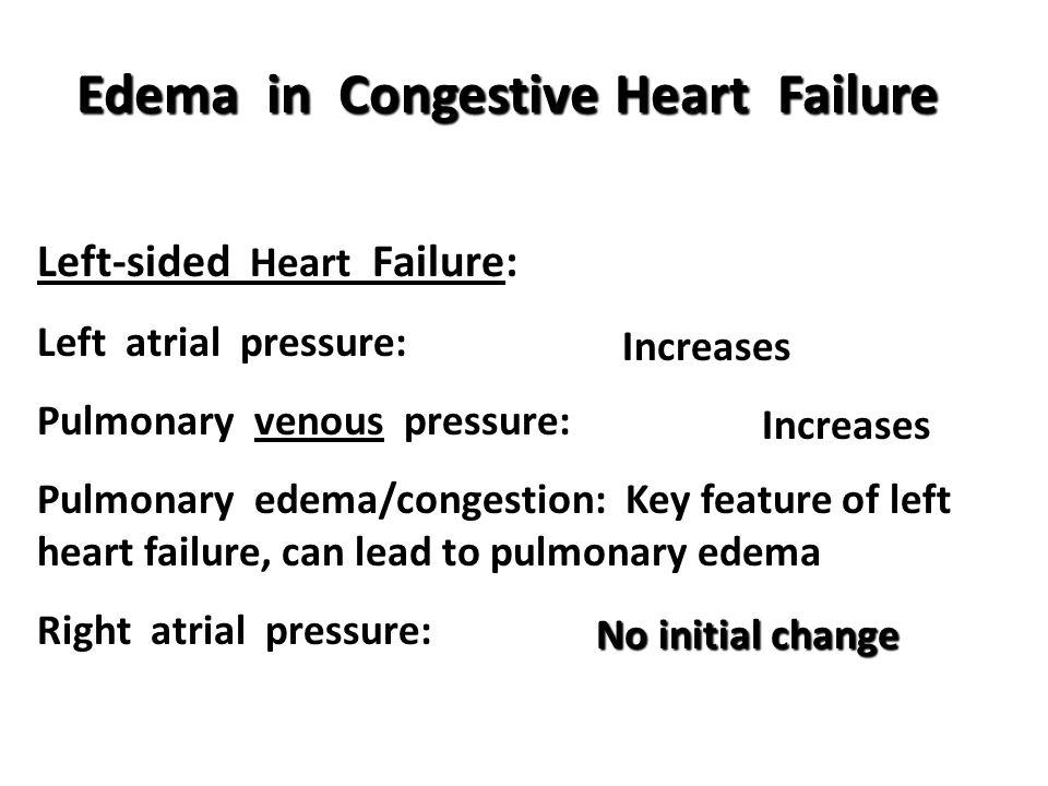 Edema in Congestive Heart Failure Left-sided Heart Failure: Left atrial pressure: Pulmonary venous pressure: Pulmonary edema/congestion: Key feature of left heart failure, can lead to pulmonary edema Right atrial pressure: Increases No initial change