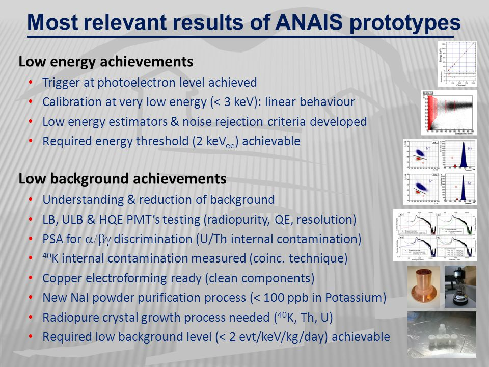 Most relevant results of ANAIS prototypes Low energy achievements Trigger at photoelectron level achieved Calibration at very low energy (< 3 keV): li