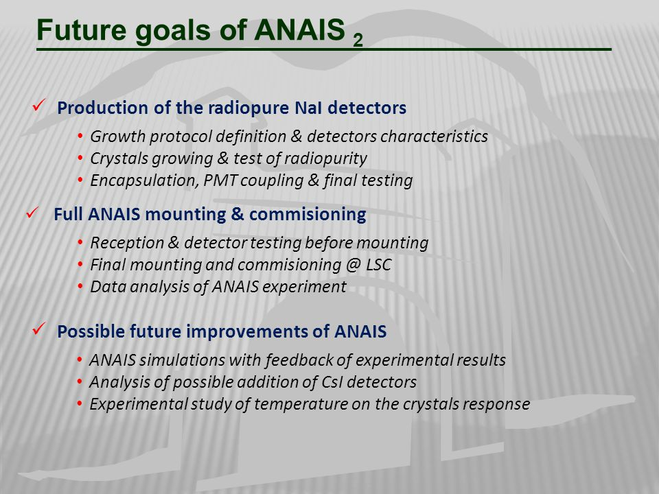 Future goals of ANAIS 2 Production of the radiopure NaI detectors Growth protocol definition & detectors characteristics Crystals growing & test of ra