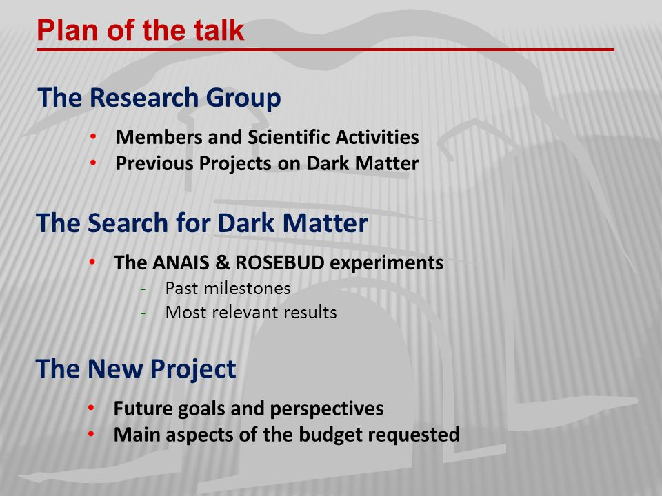 Plan of the talk The Research Group Members and Scientific Activities Previous Projects on Dark Matter The Search for Dark Matter The ANAIS & ROSEBUD