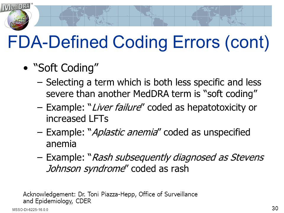 "MSSO-DI-6225-16.0.0 FDA-Defined Coding Errors (cont) ""Soft Coding"" –Selecting a term which is both less specific and less severe than another MedDRA t"