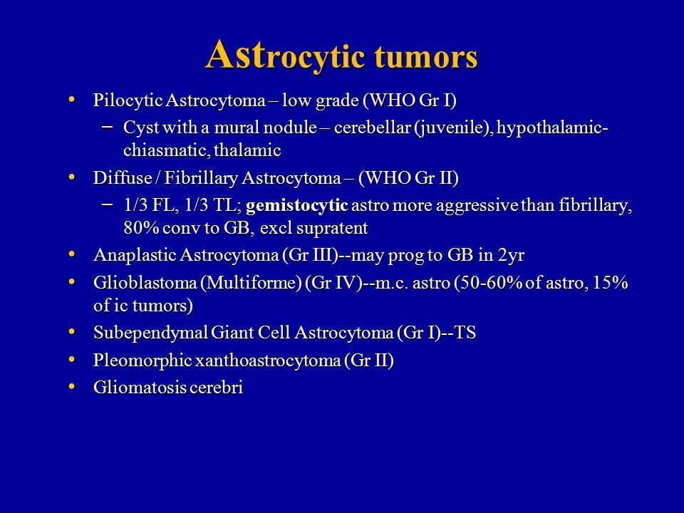 Ast rocytic tumors Pilocytic Astrocytoma – low grade (WHO Gr I) Pilocytic Astrocytoma – low grade (WHO Gr I) – Cyst with a mural nodule – cerebellar (