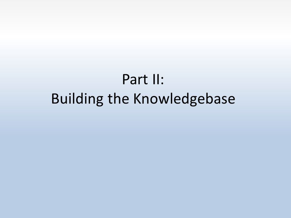 Part II: Building the Knowledgebase
