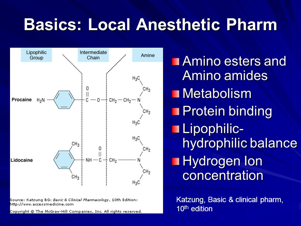 Basics: Local Anesthetic Pharm Amino esters and Amino amides Metabolism Protein binding Lipophilic- hydrophilic balance Hydrogen Ion concentration Kat