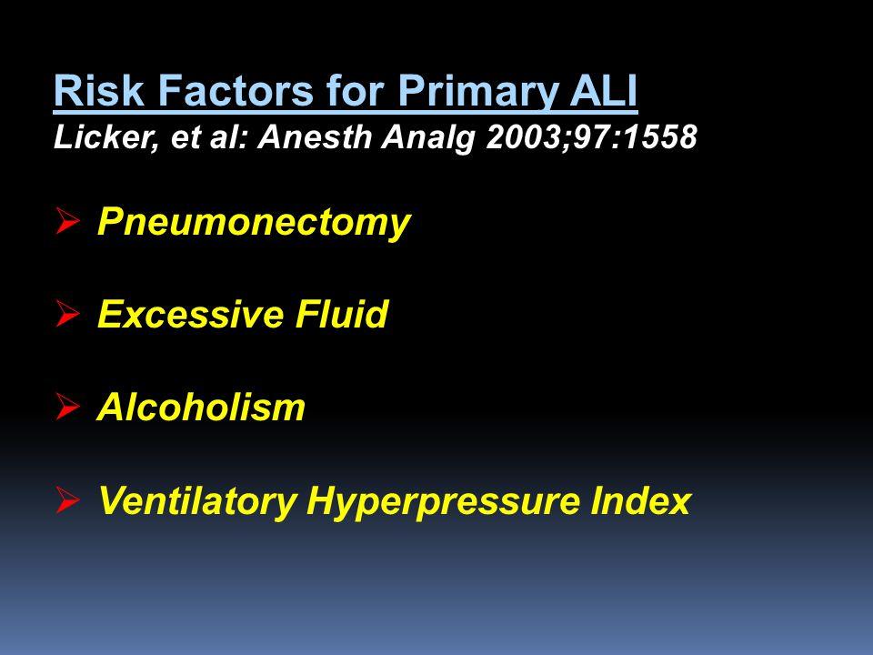 Risk Factors for Primary ALI Licker, et al: Anesth Analg 2003;97:1558  Pneumonectomy  Excessive Fluid  Alcoholism  Ventilatory Hyperpressure Index