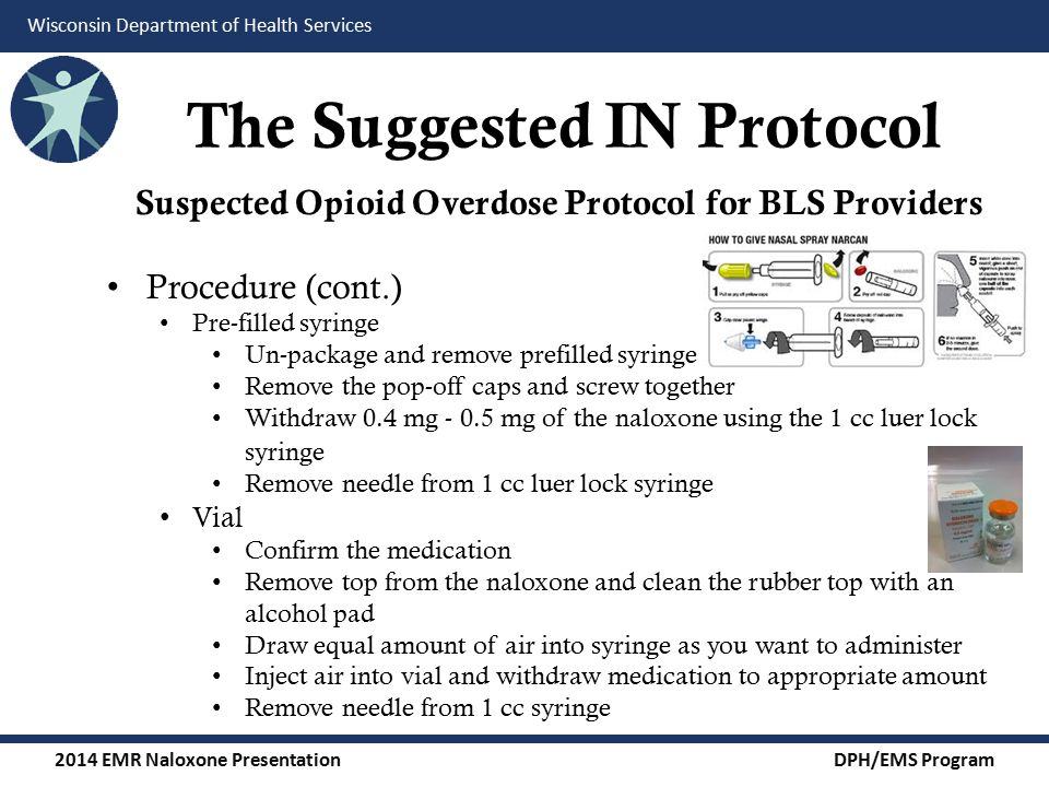 2014 EMR Naloxone Presentation DPH/EMS Program Wisconsin Department of Health Services The Suggested IN Protocol Suspected Opioid Overdose Protocol for BLS Providers Procedure (cont.) Pre-filled syringe Un-package and remove prefilled syringe Remove the pop-off caps and screw together Withdraw 0.4 mg - 0.5 mg of the naloxone using the 1 cc luer lock syringe Remove needle from 1 cc luer lock syringe Vial Confirm the medication Remove top from the naloxone and clean the rubber top with an alcohol pad Draw equal amount of air into syringe as you want to administer Inject air into vial and withdraw medication to appropriate amount Remove needle from 1 cc syringe
