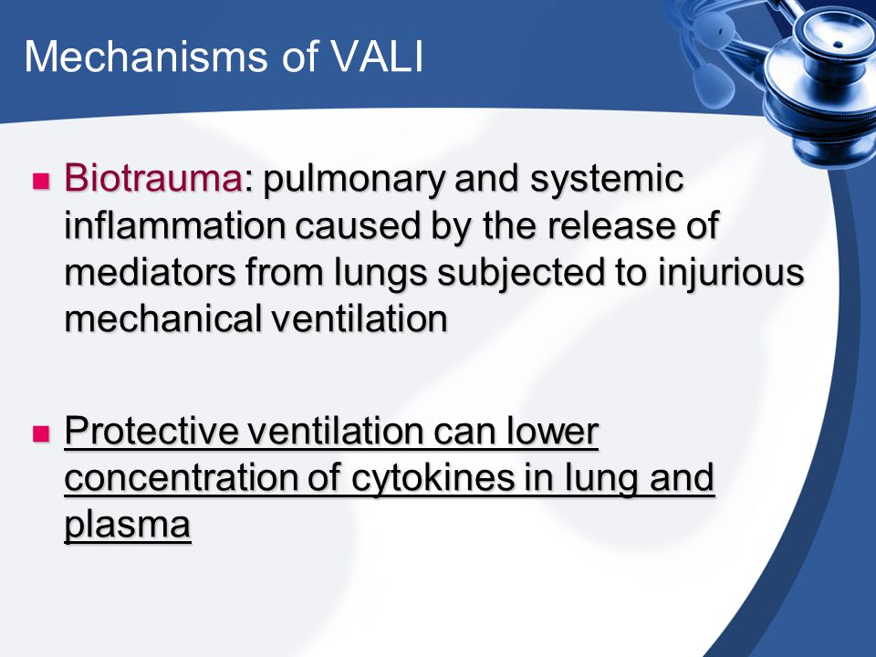 Biotrauma: pulmonary and systemic inflammation caused by the release of mediators from lungs subjected to injurious mechanical ventilation Biotrauma: