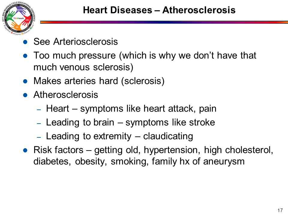 Heart Diseases – Atherosclerosis See Arteriosclerosis Too much pressure (which is why we don't have that much venous sclerosis) Makes arteries hard (sclerosis) Atherosclerosis – Heart – symptoms like heart attack, pain – Leading to brain – symptoms like stroke – Leading to extremity – claudicating Risk factors – getting old, hypertension, high cholesterol, diabetes, obesity, smoking, family hx of aneurysm 17