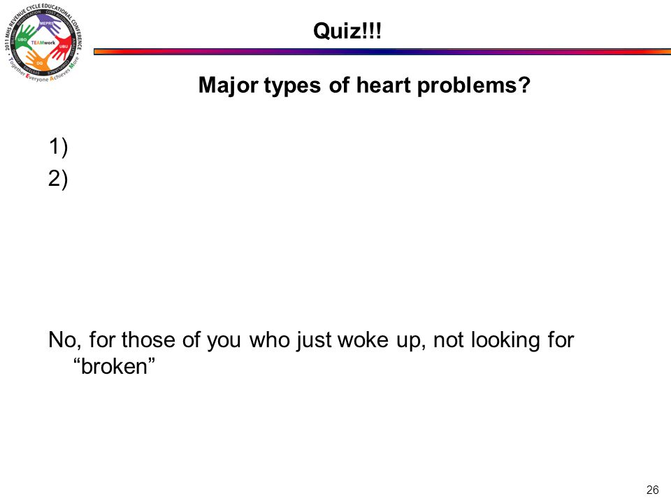 Major types of heart problems.