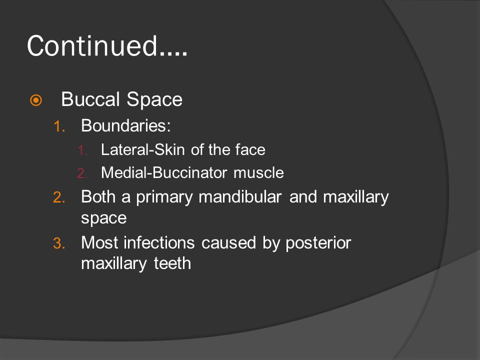 Continued….  Buccal Space 1. Boundaries: 1. Lateral-Skin of the face 2. Medial-Buccinator muscle 2. Both a primary mandibular and maxillary space 3.