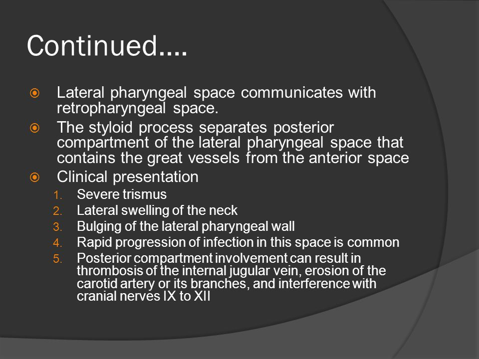 Continued….  Lateral pharyngeal space communicates with retropharyngeal space.  The styloid process separates posterior compartment of the lateral p