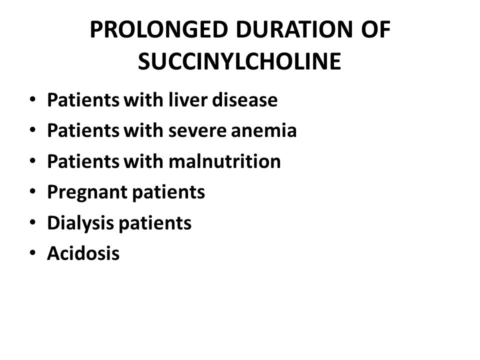 PROLONGED DURATION OF SUCCINYLCHOLINE Patients with liver disease Patients with severe anemia Patients with malnutrition Pregnant patients Dialysis pa