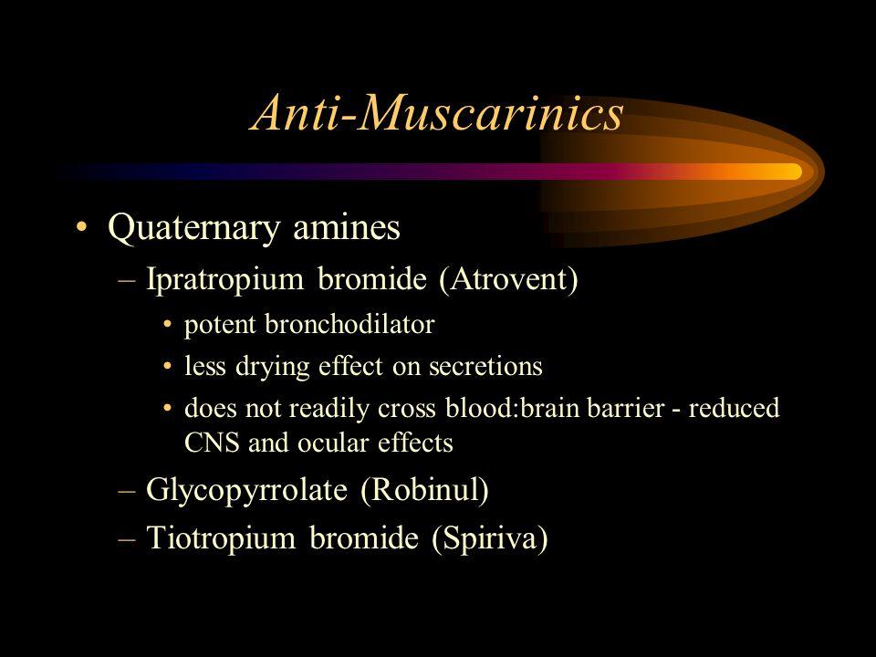 Anti-Muscarinics Quaternary amines –Ipratropium bromide (Atrovent) potent bronchodilator less drying effect on secretions does not readily cross blood