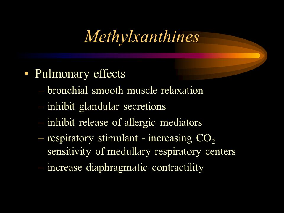 Methylxanthines Pulmonary effects –bronchial smooth muscle relaxation –inhibit glandular secretions –inhibit release of allergic mediators –respiratory stimulant - increasing CO 2 sensitivity of medullary respiratory centers –increase diaphragmatic contractility