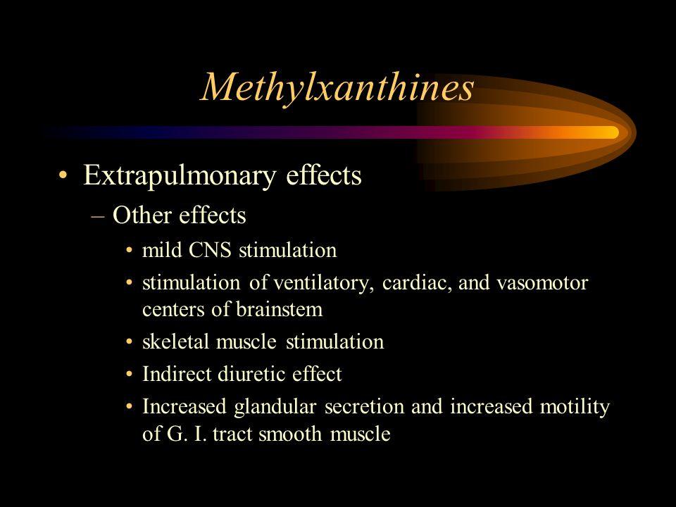 Methylxanthines Extrapulmonary effects –Other effects mild CNS stimulation stimulation of ventilatory, cardiac, and vasomotor centers of brainstem ske