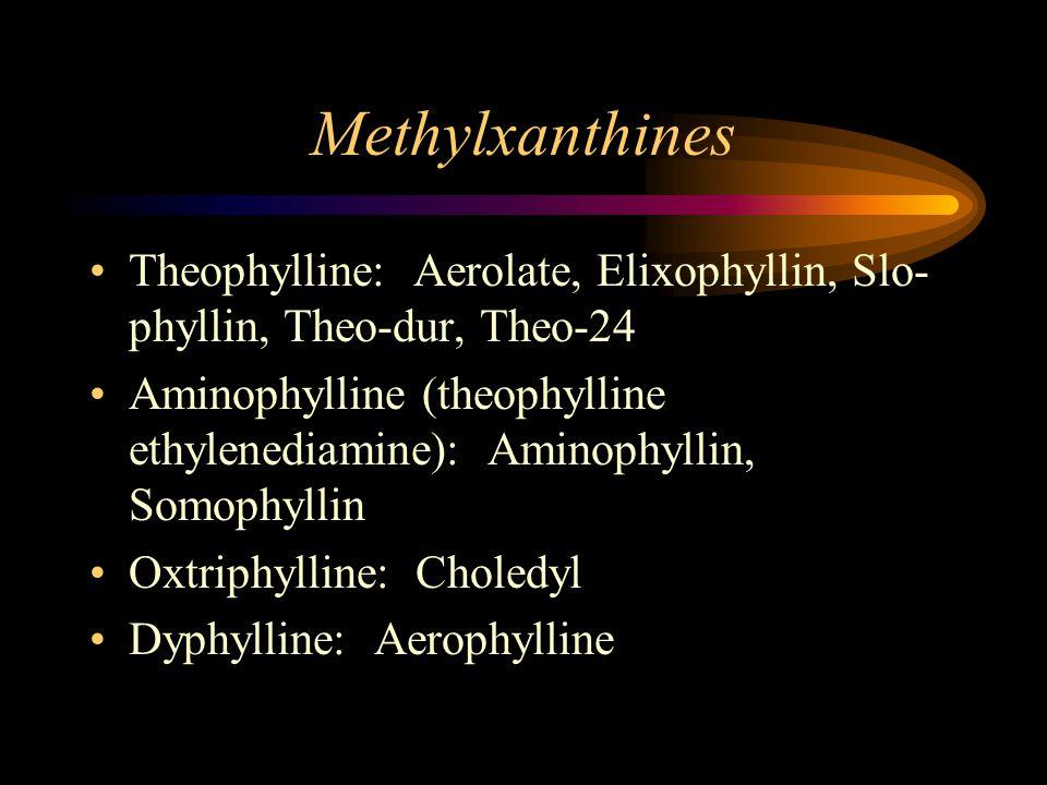 Methylxanthines Theophylline: Aerolate, Elixophyllin, Slo- phyllin, Theo-dur, Theo-24 Aminophylline (theophylline ethylenediamine): Aminophyllin, Somophyllin Oxtriphylline: Choledyl Dyphylline: Aerophylline