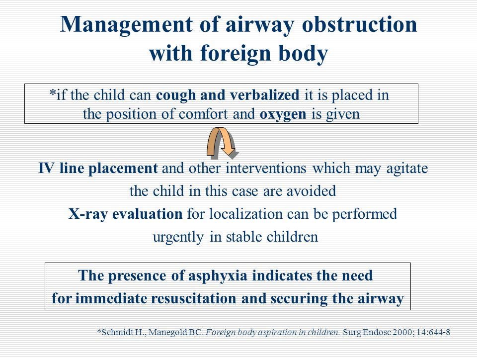 Management of airway obstruction with foreign body *Schmidt H., Manegold BC. Foreign body aspiration in children. Surg Endosc 2000; 14:644-8 *if the c