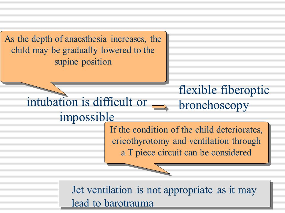 intubation is difficult or impossible If the condition of the child deteriorates, cricothyrotomy and ventilation through a T piece circuit can be cons