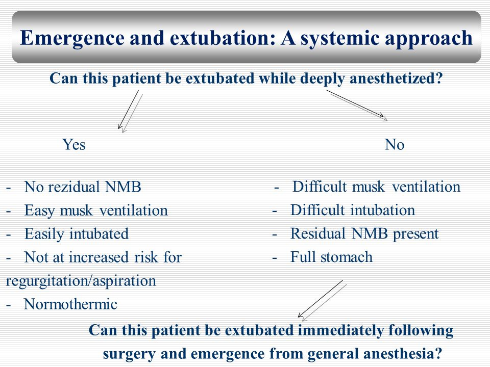 Emergence and extubation: A systemic approach Can this patient be extubated while deeply anesthetized? YesNo -No rezidual NMB -Easy musk ventilation -