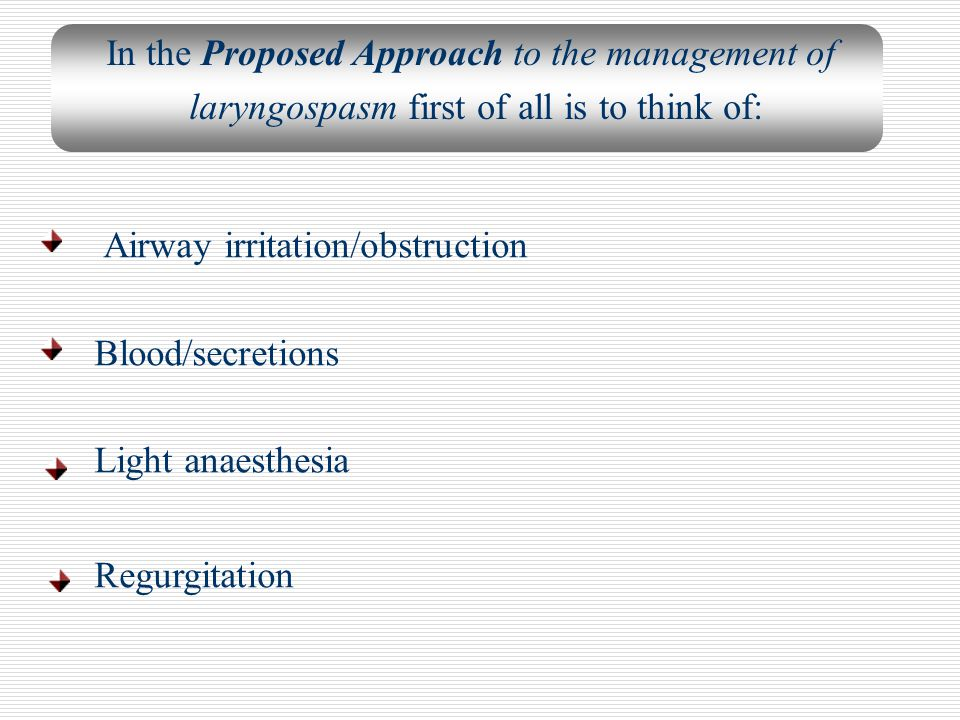 Airway irritation/obstruction Blood/secretions Light anaesthesia Regurgitation In the Proposed Approach to the management of laryngospasm first of all