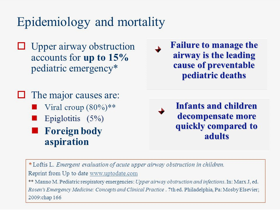 Epidemiology and mortality  Upper airway obstruction accounts for up to 15% pediatric emergency*  The major causes are: Viral croup (80%)** Epigloti