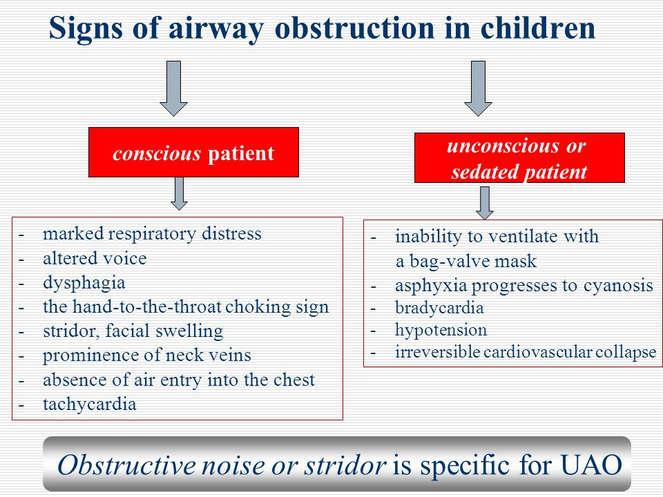 Signs of airway obstruction in children -marked respiratory distress -altered voice -dysphagia -the hand-to-the-throat choking sign -stridor, facial s