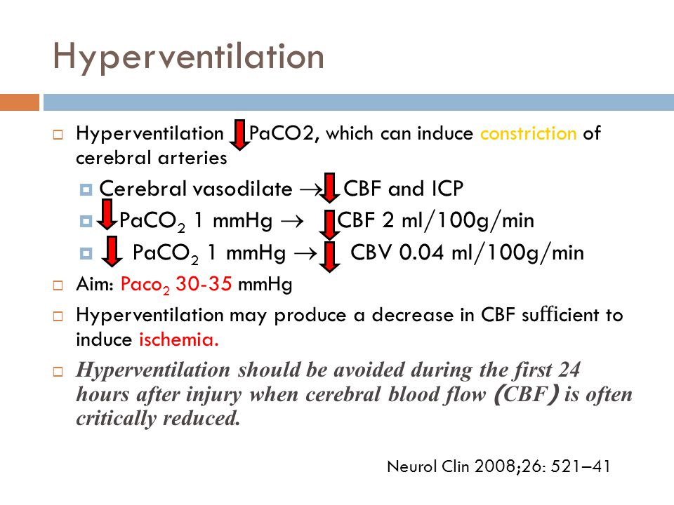 Hyperventilation  Hyperventilation PaCO2, which can induce constriction of cerebral arteries  Cerebral vasodilate  CBF and ICP  PaCO 2 1 mmHg  CB