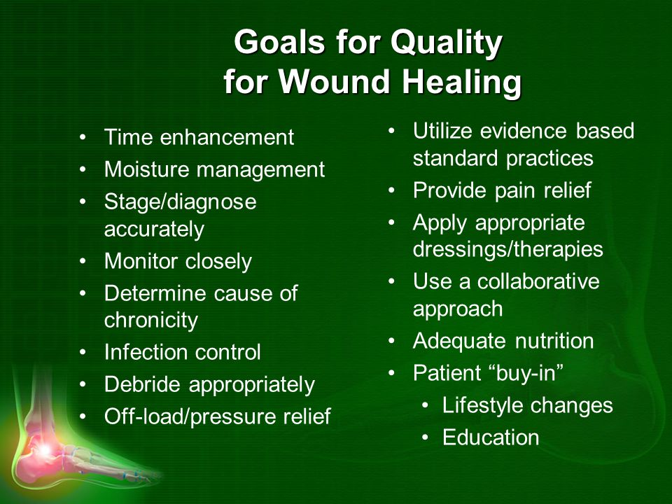 Goals for Quality for Wound Healing Time enhancement Moisture management Stage/diagnose accurately Monitor closely Determine cause of chronicity Infection control Debride appropriately Off-load/pressure relief Utilize evidence based standard practices Provide pain relief Apply appropriate dressings/therapies Use a collaborative approach Adequate nutrition Patient buy-in Lifestyle changes Education
