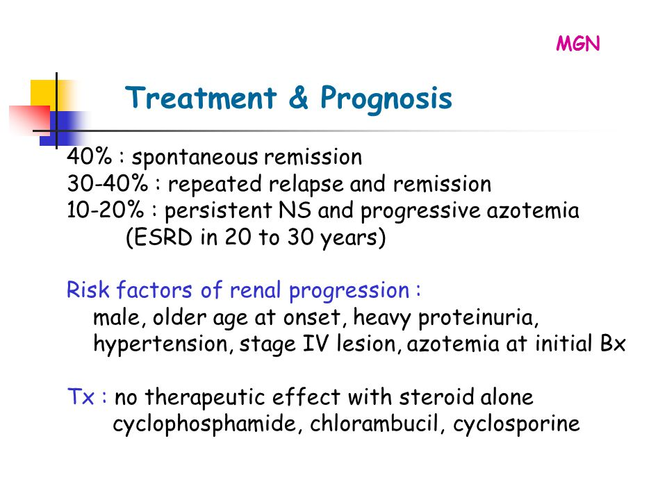 40% : spontaneous remission 30-40% : repeated relapse and remission 10-20% : persistent NS and progressive azotemia (ESRD in 20 to 30 years) Risk factors of renal progression : male, older age at onset, heavy proteinuria, hypertension, stage IV lesion, azotemia at initial Bx Tx : no therapeutic effect with steroid alone cyclophosphamide, chlorambucil, cyclosporine Treatment & Prognosis MGN