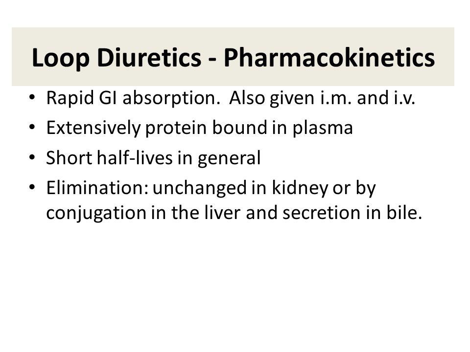 Loop Diuretics - Pharmacokinetics Rapid GI absorption.