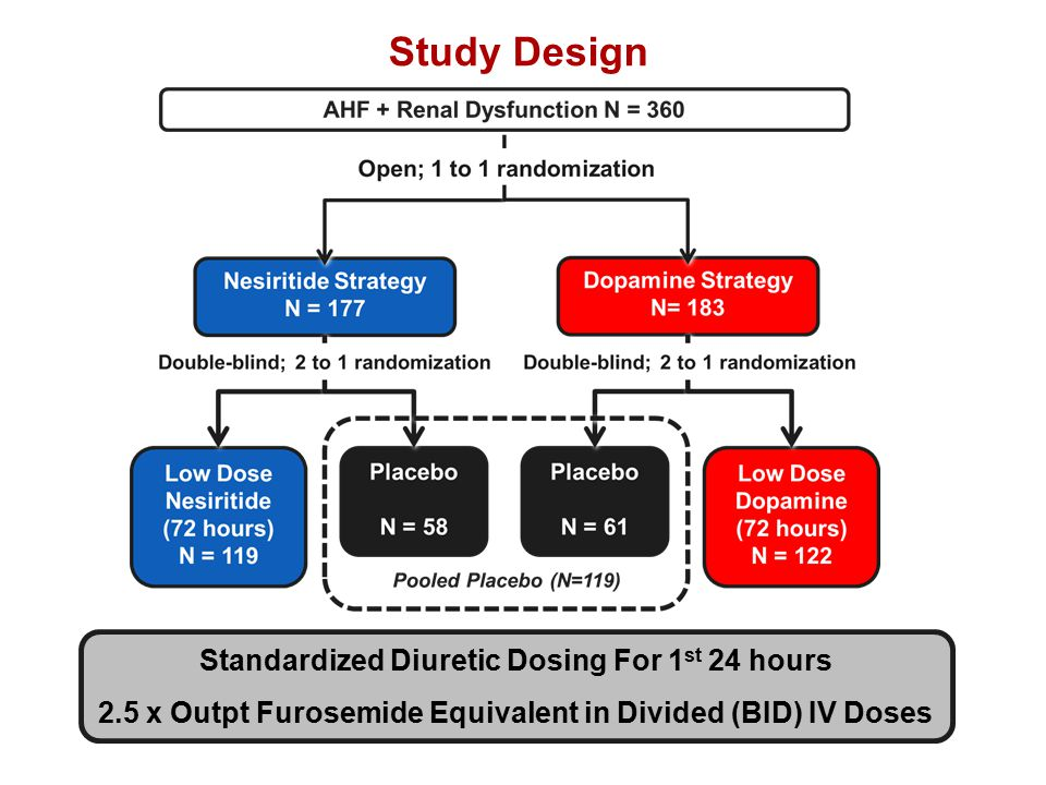 Study Design Standardized Diuretic Dosing For 1 st 24 hours 2.5 x Outpt Furosemide Equivalent in Divided (BID) IV Doses Standardized Diuretic Dosing For 1 st 24 hours 2.5 x Outpt Furosemide Equivalent in Divided (BID) IV Doses