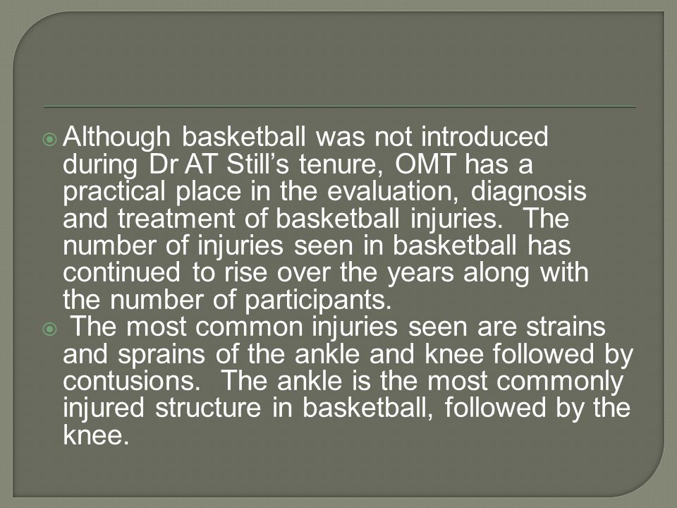  OMT evaluation consisting of observation, range of motion testing, and specific tests relative to each joint can adequately diagnose and assess the need for further intervention.