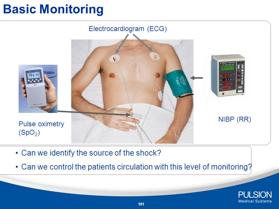100 ECG Monitor heart rhythmSR Monitor heart rate120/min SpO 2 > O 2 mask with 5l/min Awareness of respiratory failure95% Monitor O 2 -supply and respiration> Intubation Patient admission