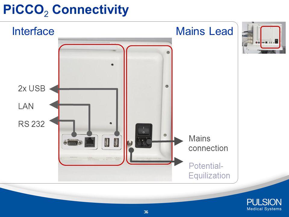 35 PiCCO 2 Connectivity CeVOX - ScvO 2 Module PiCCO – Thermodilution PiCCO – arterial pressure Online - CVP Input AUX port for connection to bedside monitoring Output CVP AP