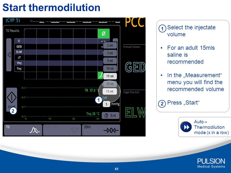 60 Workflow - Thermodilution PiCCO 2 Philips IntelliVue Model PiCCO plus Dräger Infinity PiCCO SmartPod