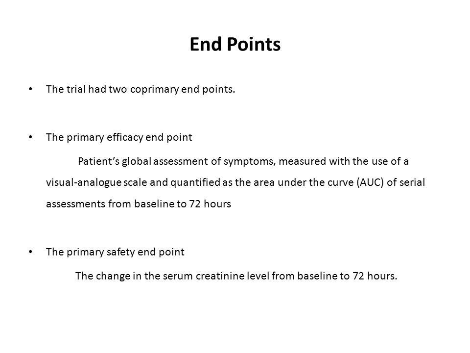 End Points The trial had two coprimary end points. The primary efficacy end point Patient's global assessment of symptoms, measured with the use of a
