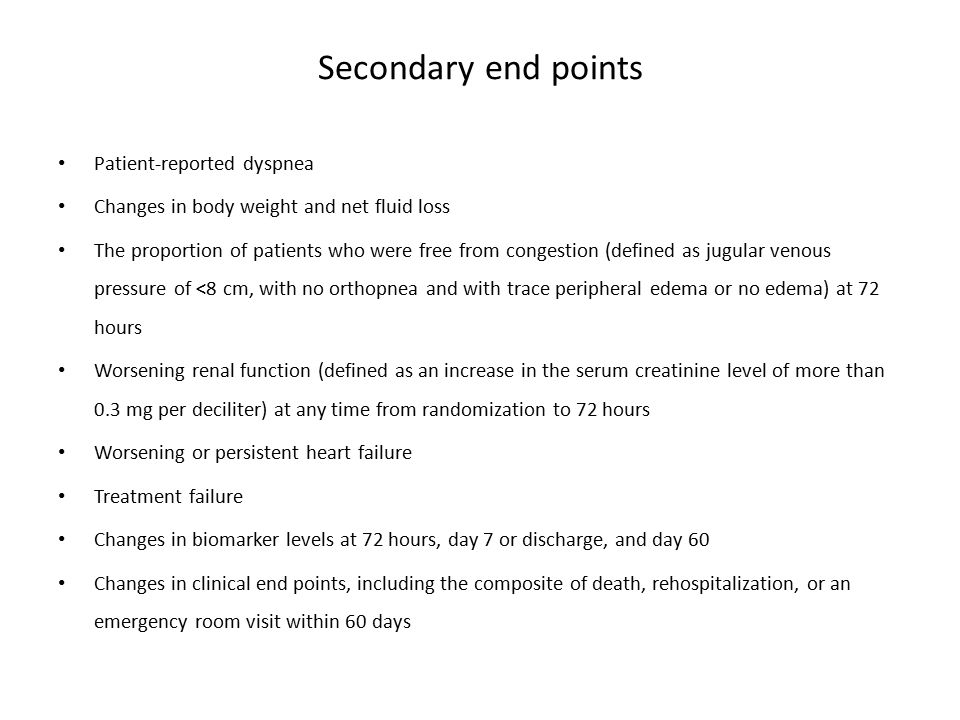 Secondary end points Patient-reported dyspnea Changes in body weight and net fluid loss The proportion of patients who were free from congestion (defi