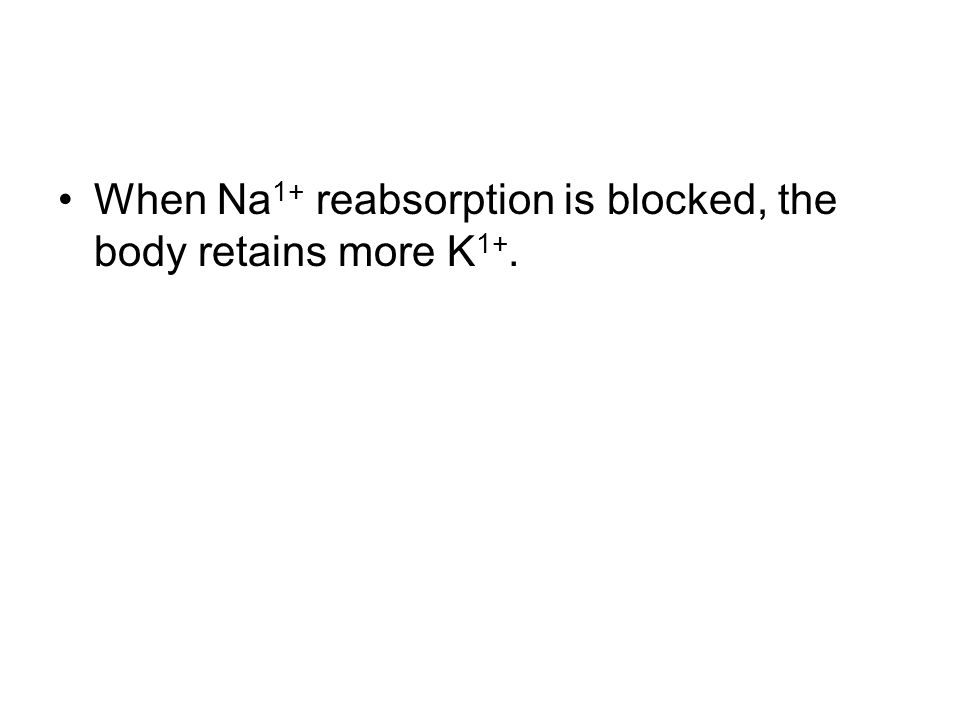 When Na 1+ reabsorption is blocked, the body retains more K 1+.